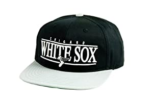 MLB Mens Chicago White Sox Nineties Snapback Cap (Black Grey, Adjustable) by Wright & Ditson