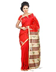 B3Fashion Traditional Handloom Super Soft Silk Blend Saree In Red With Thin Golden Running Border With Temple...