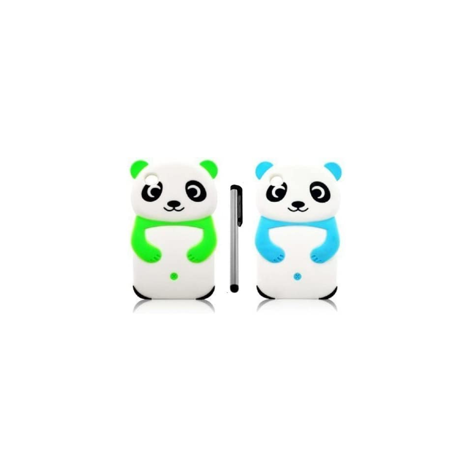 [Pack of 2] NanoCell4All Cute Panda Bear 3D Cartoon Soft Silicone Skin Case Cover for Ipod Touch 4 4th Generation (Neon Green, Aqua Blue) with NanoCell4All Capacitive Stylus Pen (Bundle 2 Panda Bear Silicone Cases and Stylus Pen)