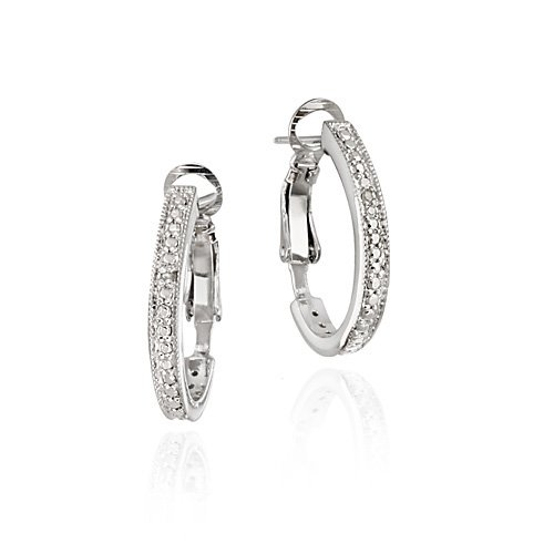 Sterling Silver Diamond Accent Oval Half Hoop Earrings