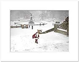 Santa at Bethesda Fountain in Central Park, New York 11 x 14 inch Matted Photo Print White Mat