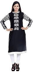 Amafhh Women's Rayon Regular Fit Kurta (amfkr7593black, Black, XX-Large)