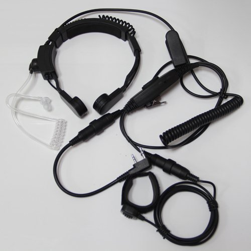 Professional Tactique Military Police Fbi Flexible Throat Mic Microphone Covert Acoustic Tube Earpiece Headset Ajustable Volume For 2-Pin Kenwood Nexedge Hytera Puxing Wouxun Radio