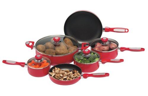 Chef's Secret 16-Piece Red Aluminum Cookware Set