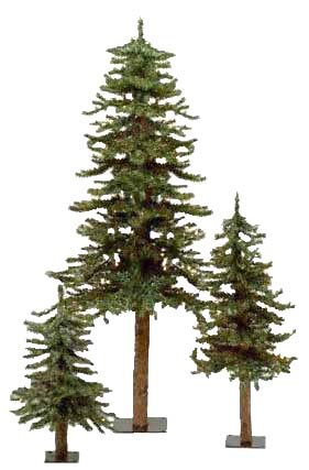Set of 3 Alpine Artificial Christmas Trees 2'