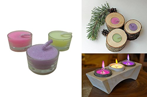 Colorflame By Decor Hut, Set of 3 Candles in Glass Holder, Tea Light with Color Flame, Burns Colored Flame Matching Color of Candle Wax. (Round Glass Candles)