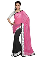 Designersareez Women Pink & Black Faux Georgette Saree With Unstitched Blouse (1654)