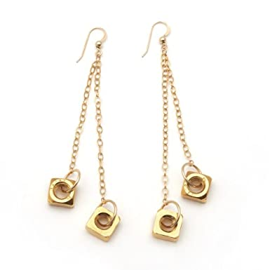 Gold Nut Drop Earrings by Alice Menter||RF10F