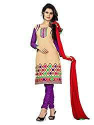 Idha Beige Semi-Stitched solid Salwar Suit For Women