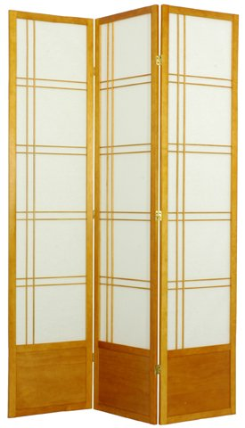 Oriental Furniture 7 Foot Tall Partition, 84-Inch Double Cross Japanese Privacy Floor Screen Room Divider, 3 Panel Honey