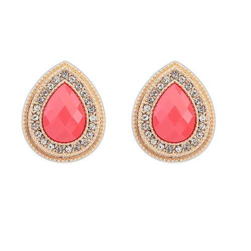 Candy Color Drop Zircon Crystal 18k Gold Plated Earrings Stud Women Jewelry + 925 Sterling Silver Earnuts 989 (989)