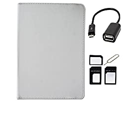 ECellStreet Tablet Flip Cover Universal Diary Folio Case With Stand And 360 Degree Rotation For Huawei Honor X1 - White + Free OTG Connector +Free Sim Adapter Kit
