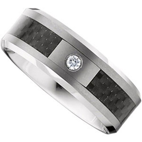 Tungsten Carbide, Single Diamond Carbon Fiber Inlay Bevel Wedding Band, 1/20 cttw (sz 11.5)