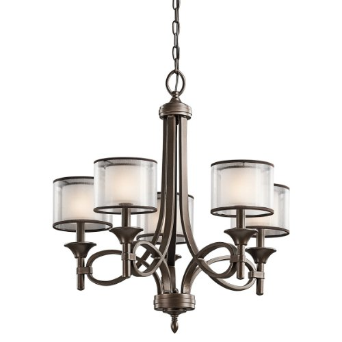 Kichler Lighting 42381MIZ Lacey 5-Light Chandelier, Mission Bronze with Cased Opal Inner Diffusers and Light Umber Translucent Outer Shades