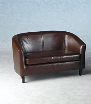 LUXURY ESPRESSO BROWN 2 X 2 SEATER SMALL TUB SOFAS, A PAIR OF SOFAS