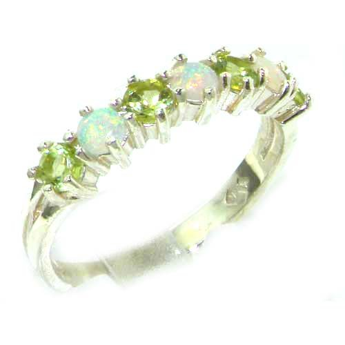 High Quality Solid White Gold Natural Fiery Opal & Peridot Eternity Ring - Size 12 - Finger Sizes 5 to 12 Available - Suitable as an Anniversary ring, Engagement ring, Eternity ring, or Promise ring