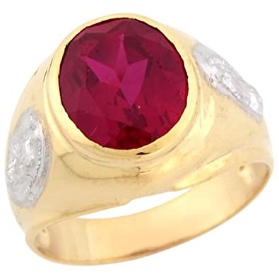 9ct Two Colour Real Gold Synthetic Ruby Guadalupe Christian Mens Ring