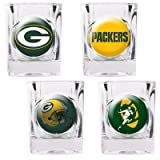 Green Bay Packers - 4 Piece Square Shot Glass Set w/Individual Logos