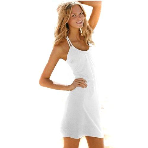 Hee Grand Damen Frauen Maedchen Sexy Kleid Neckholder Overall Strand Minikleid Weiss Chinesich M