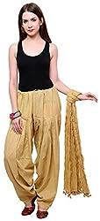 FEMEZONE Women's Cotton Patiala Salwar with Dupatta (FEM4211_Beige)