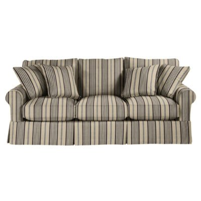 Deals Couches on Baldwin Sofa Slipcover   Ballard Essentials Fabrics Black Stripe Linen