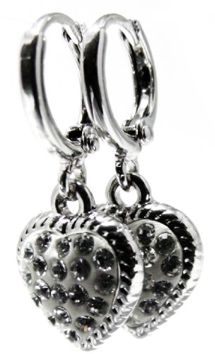 1.0″ Inch Heart Shape Swarovski Crystal Elements Simulated White Diamond CZ Dangle Drop Earrings, 14k White Gold Filled