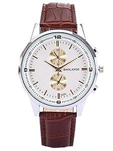 Dreaman Unisex Business Numerals Faux Leather Analog Quartz Watch Brown