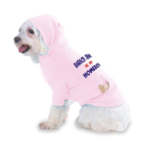 BARACK OBAMA IS MY HOMEBOY Hooded (Hoody) T-Shirt with pocket for your Dog or Cat X-Small (XS) Pink