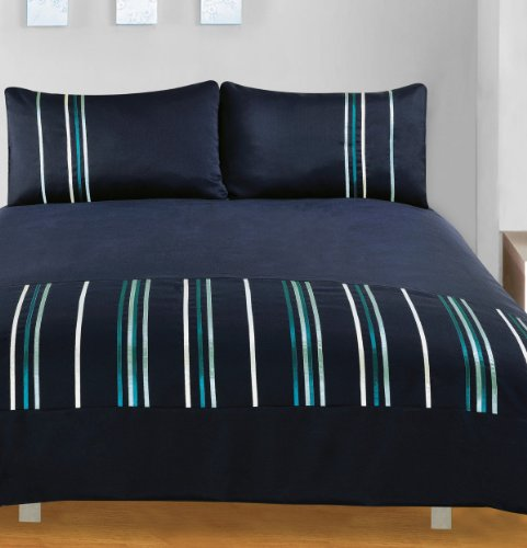 Ribbons Navy Soft Touch Complete Duvet Cover Set King Size