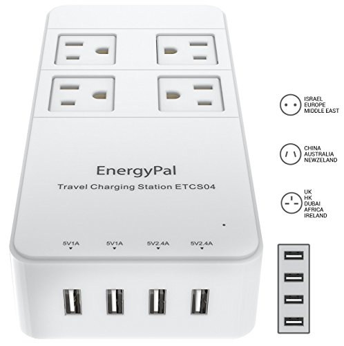 EnergyPal Travel Charging Station ETCS04 / International Travel Adapter / Surge Protector / Power Strip With USB / Power Adapter (European Power Strip compare prices)