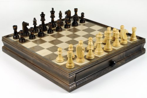 Deluxe Wooden Chess Set and Checkers Weighted and Balanced