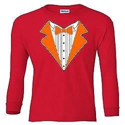 ORANGE TUXEDO Wedding Bachelor Prom TUX Tee Youth Long Sleeve T-Shirt