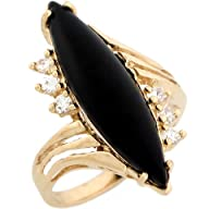 14k Real Yellow Gold Marquise Onyx wi…