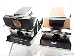 Polaroid SX 70 Land Camera Sonar One Step Black Leather with Strap + Polaroid SX 70 Land Camera Display Collectibles Bundle