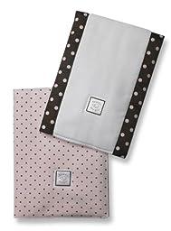 SwaddleDesigns Baby Burpies, Brown Polka Dots on Pastel Pink (Set of 2 Burp Cloths)