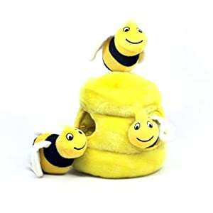 Outward Hound 31010 Hide A Bee Dog Toys Interactive Plush Squeak 4-Piece Toy, Large, Yellow