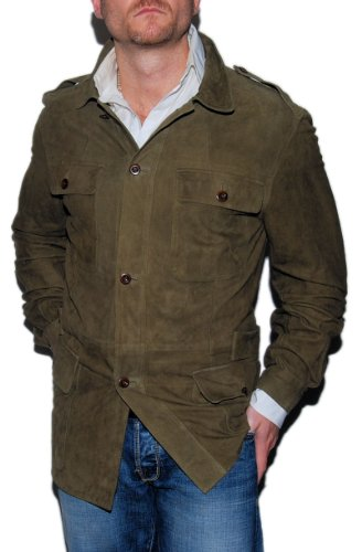 Polo Ralph Lauren Mens Suede Leather Jacket Army Olive Green Large