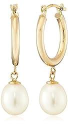 Aurapearl 10k Yellow Gold 7-8mm White Oval Freshwater Cultured Pearl Drop Hoop Earrings