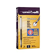 uni-ball Vision Stick Needle Roller Ball Pens, Fine Point, Black Ink, Pack of 12