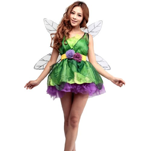 Womens Sexy Green Elf Halloween Cosplay Dress