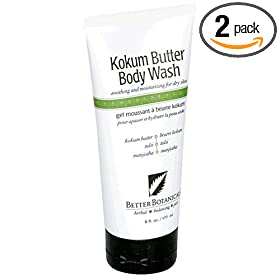 Better Botanicals Kokum Butter Body Wash, 6-Ounce Tubes (Pack of 2)