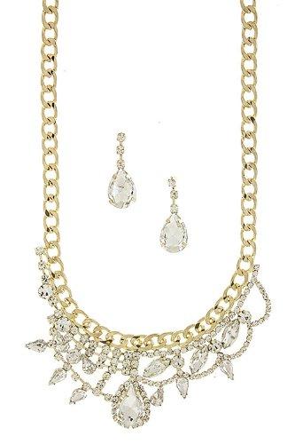 Trendy Fashion Jewelry Crystal Jewel Chain Bib Necklace Set By Fashion Destination | (Clear)
