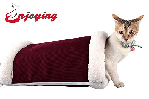 Enjoying 2 in 1 Tunnel Cat Bed Blanket Puppy Doggie Mat Red L