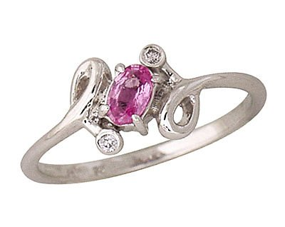 Oval Pink Sapphire and Diamond Twist Ring 14k White Gold