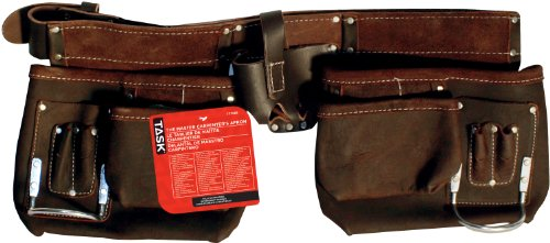 Task Tools T77358 Carpenter's Apron, Oil-Tanned Dark Brown Leather, 12-Pocket