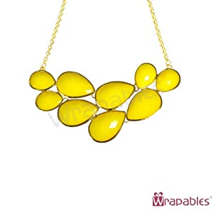 AllyDrew Drop Shape Bubble Statement Necklaces, Yellow