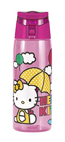 Zak! Designs Tritan Water Bottle with Flip-top Cap with Pink Hello Kitty Graphics, Break-resistant and BPA-Free Plastic, 25 oz.