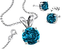 Birthstone 925 Sterling Silver Necklace Combo, Earrings, Pendantt and 18 Inch Rolo Chain CZ Topaz by Made in U.S.A