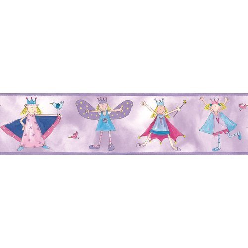 York Wallcoverings RMK1014BCS RoomMates Fairy Princess Peel & Stick Border, - 1