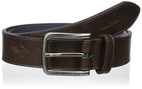 Nautica Boys' 32mm Jean Belt Embossed with Anchors, Brown, 30
